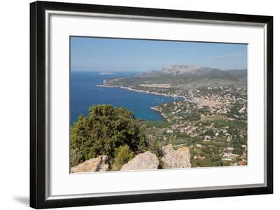 View of the Coastline and the Historic Town of Cassis from a Hilltop, France-Martin Child-Framed Photographic Print
