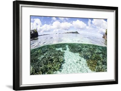 A Beautiful Coral Reef Grows Near a Set of Limestone Islands-Stocktrek Images-Framed Photographic Print