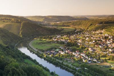 View over the Saar Valley with Saar River Near Serrig, Rhineland-Palatinate, Germany, Europe-Markus Lange-Framed Photographic Print