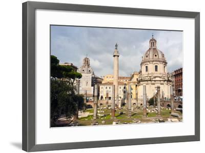Trajan's Column Between Dome of St. Maria Di Loreto (Left) and Ss.Nome Di Maria, Latium, Italy-Nico Tondini-Framed Photographic Print