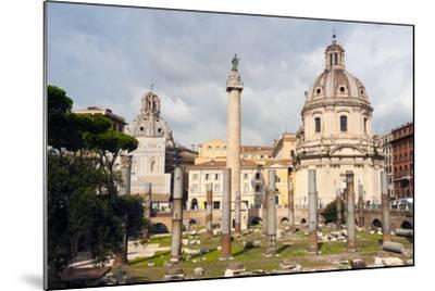 Trajan's Column Between Dome of St. Maria Di Loreto (Left) and Ss.Nome Di Maria, Latium, Italy-Nico Tondini-Mounted Photographic Print