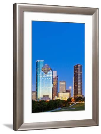 Houston Skyline at Night from Eleanor Tinsley Park, Texas, United States of America, North America-Kav Dadfar-Framed Photographic Print