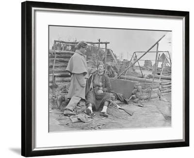 American Civil War Scene of a Deserted Camp and Wounded Zouave Soldier-Stocktrek Images-Framed Photographic Print