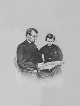President Abraham Lincoln and His Son Tad Lincoln Looking at a Book-Stocktrek Images-Framed Photographic Print