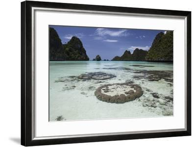 Limestone Islands Surround Corals in a Lagoon in Raja Ampat-Stocktrek Images-Framed Photographic Print