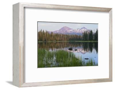 Usa, Pacific Northwest, Oregon Cascades, Scott Lake with Three Sisters Mountains-Christian Heeb-Framed Photographic Print