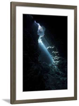 Sunlight Descends Underwater and into a Crevice in a Reef in the Solomon Islands-Stocktrek Images-Framed Photographic Print