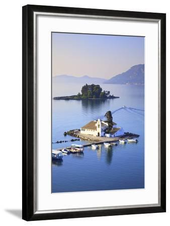 Elevated View to Vlacherna Monastery and the Church of Pantokrator on Mouse Island, Kanoni-Neil Farrin-Framed Photographic Print
