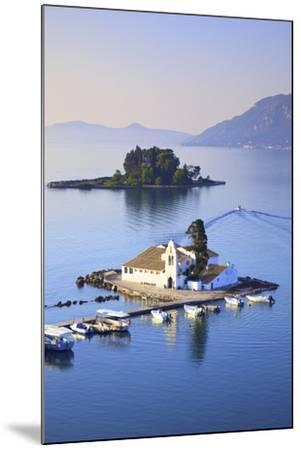 Elevated View to Vlacherna Monastery and the Church of Pantokrator on Mouse Island, Kanoni-Neil Farrin-Mounted Photographic Print