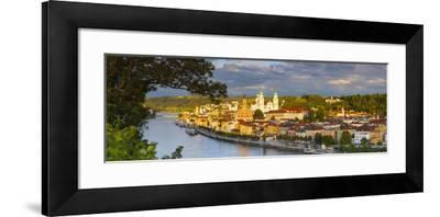 Elevated View Towards the Picturesque City of Passau Illuminated at Sunset, Passau, Lower Bavaria-Doug Pearson-Framed Photographic Print
