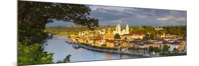 Elevated View Towards the Picturesque City of Passau Illuminated at Sunset, Passau, Lower Bavaria-Doug Pearson-Mounted Photographic Print