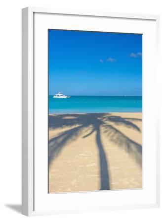 Antigua, Jolly Bay Beach, Palm Trees Casting Shadows-Alan Copson-Framed Photographic Print