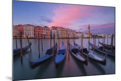 Gondolas at Dorsoduro, Venice, Veneto, Italy. in the Background the St. Mark's Bell Tower-ClickAlps-Mounted Photographic Print