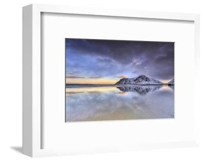 Sunset on Skagsanden Beach Surrounded by Snow Covered Mountains, Lofoten Islands-ClickAlps-Framed Photographic Print
