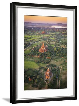 Myanmar (Burma), Temples of Bagan (Unesco World Heritage Site) Elevated View from Baloon-Michele Falzone-Framed Photographic Print