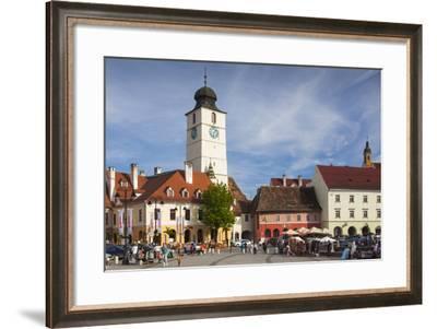 Romania, Transylvania, Sibiu, Piata Mica Square and Council Tower-Walter Bibikow-Framed Photographic Print