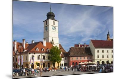Romania, Transylvania, Sibiu, Piata Mica Square and Council Tower-Walter Bibikow-Mounted Photographic Print