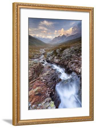 Gavia Pass, Stelvio National Park, Lombardy, Italy. Mountain River at Sunset.-ClickAlps-Framed Photographic Print