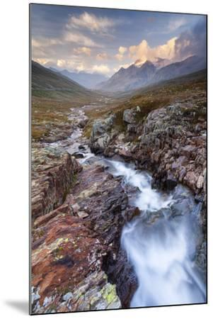 Gavia Pass, Stelvio National Park, Lombardy, Italy. Mountain River at Sunset.-ClickAlps-Mounted Photographic Print