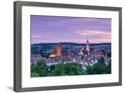 Elevated View over Donauworth Old Town Illuminated at Sunset, Donauworth, Swabia, Bavaria, Germany-Doug Pearson-Framed Photographic Print