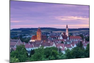 Elevated View over Donauworth Old Town Illuminated at Sunset, Donauworth, Swabia, Bavaria, Germany-Doug Pearson-Mounted Photographic Print