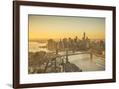 One World Trade Center, Manhattan and Brooklyn Bridges, Manhattan, New York City, New York, USA-Jon Arnold-Framed Photographic Print