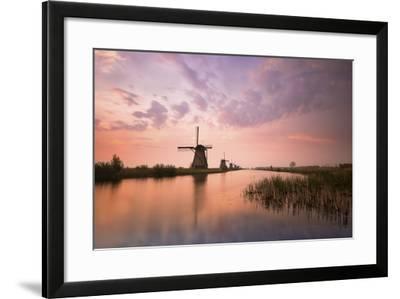 Kinderdijk, Netherlands the Windmills of Kinderdijk Resumed at Sunrise.-ClickAlps-Framed Photographic Print