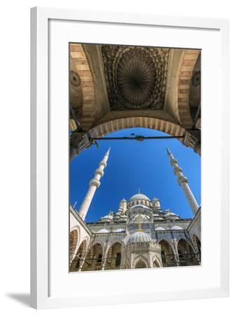 Inner Courtyard Low Angle View of Yeni Cami or New Mosque, Istanbul, Turkey-Stefano Politi Markovina-Framed Photographic Print