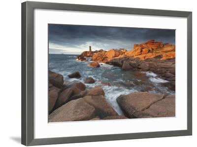 Pink Granite Coast, Brittany, France. the Ploumanach Lighthouse (Men Ruz) an Sunset.-ClickAlps-Framed Photographic Print