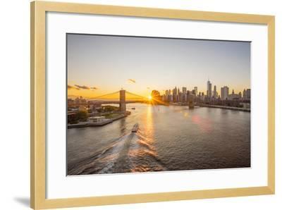 Usa, New York, Lower Manhattan Skyline and Brooklyn Bridge over East River at Sunset-Alan Copson-Framed Photographic Print