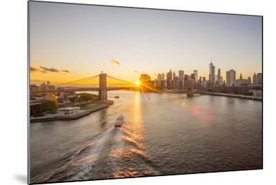 Usa, New York, Lower Manhattan Skyline and Brooklyn Bridge over East River at Sunset-Alan Copson-Mounted Photographic Print