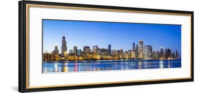 Usa, Illinois, Chicago. the City Skyline and a Frozen Lake Michigan.-Nick Ledger-Framed Photographic Print
