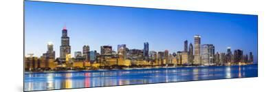 Usa, Illinois, Chicago. the City Skyline and a Frozen Lake Michigan.-Nick Ledger-Mounted Photographic Print