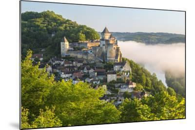 Early Morning Mist, Chateau De Castelnaud, Castelnaud, Dordogne, Aquitaine, France-Peter Adams-Mounted Photographic Print