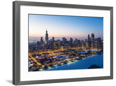 Usa, Illinois, Chicago. Aerial Dusk View of the City and Millennium Park in Winter.-Nick Ledger-Framed Photographic Print