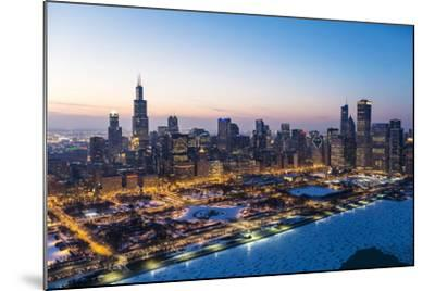 Usa, Illinois, Chicago. Aerial Dusk View of the City and Millennium Park in Winter.-Nick Ledger-Mounted Photographic Print