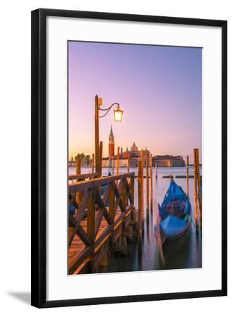 Riva Degli Schiavoni, Venice, Veneto, Italy. Moored Gondolas in Front of San Giorgio Maggiore-Marco Bottigelli-Framed Photographic Print