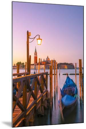 Riva Degli Schiavoni, Venice, Veneto, Italy. Moored Gondolas in Front of San Giorgio Maggiore-Marco Bottigelli-Mounted Photographic Print