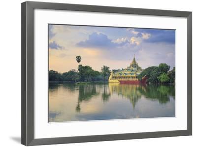 Myanmar (Burma), Yangon (Rangoon), Shwedagon Paya (Pagoda), Karaweik Hall and Kandawgyi Lake-Michele Falzone-Framed Photographic Print