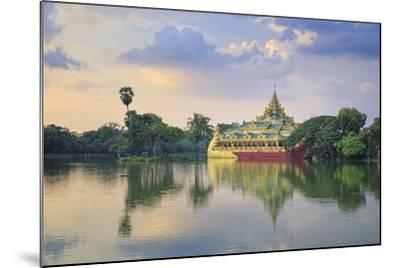 Myanmar (Burma), Yangon (Rangoon), Shwedagon Paya (Pagoda), Karaweik Hall and Kandawgyi Lake-Michele Falzone-Mounted Photographic Print