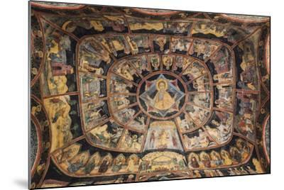 Romania, Transylvania, Sinaia, Sinaia Monastery, Small Church, Exterior Frescoes-Walter Bibikow-Mounted Photographic Print