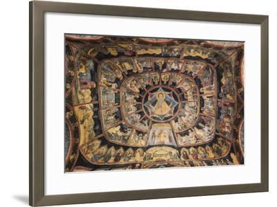 Romania, Transylvania, Sinaia, Sinaia Monastery, Small Church, Exterior Frescoes-Walter Bibikow-Framed Photographic Print