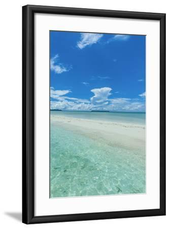 Little Sand Strip Appearing in Low Tide at the Rock Islands, Palau, Central Pacific-Michael Runkel-Framed Photographic Print