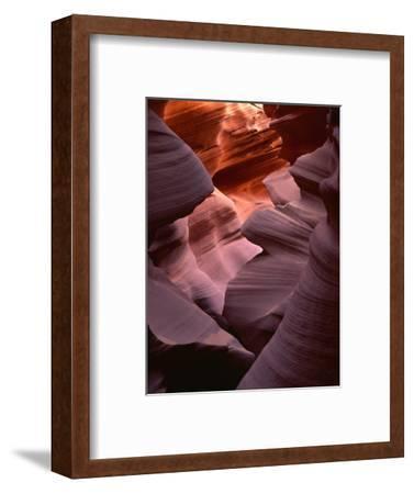 USA, Arizona, Navajo Tribal Park, Erosion of Navajo Sandstone of Lower Antelope Canyon-John Barger-Framed Photographic Print