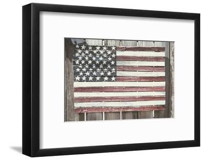 Worn Wooden American Flag, Fire Island, New York-Julien McRoberts-Framed Photographic Print