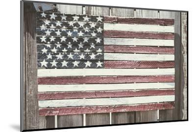 Worn Wooden American Flag, Fire Island, New York-Julien McRoberts-Mounted Photographic Print