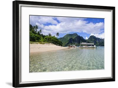 Long Sandy Beach in the Bacuit Archipelago, Palawan, Philippines-Michael Runkel-Framed Photographic Print