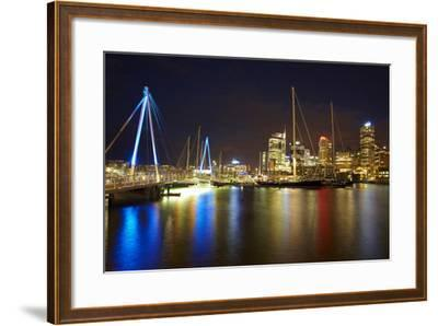 Wynyard Crossing Bridge and Cbd, Auckland Waterfront, North Island, New Zealand-David Wall-Framed Photographic Print