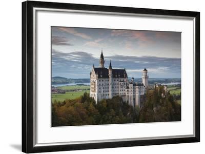 Germany, Bavaria, Hohenschwangau, Castle, Marienbrucke Bridge View, Dusk-Walter Bibikow-Framed Photographic Print