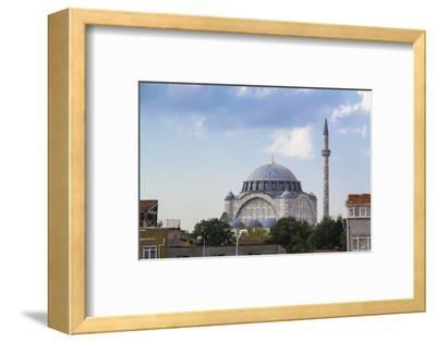 Turkey, Istanbul. the Mihrimah Sultan Mosque Near the Byzantine Land Walls of Istanbul, Turkey-Emily Wilson-Framed Photographic Print